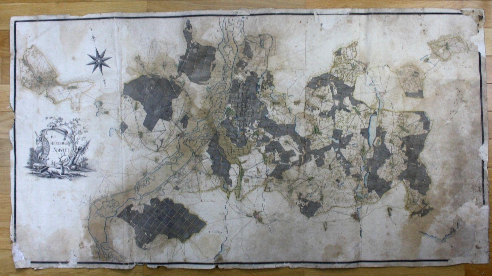 Karte Herrschaft Schwedt 18. Jhd